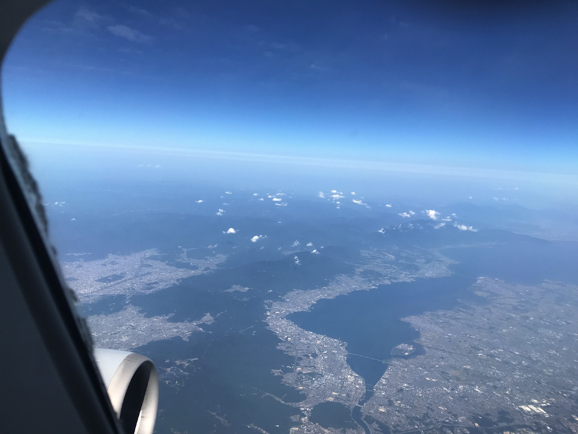 飛行機から自宅を見る